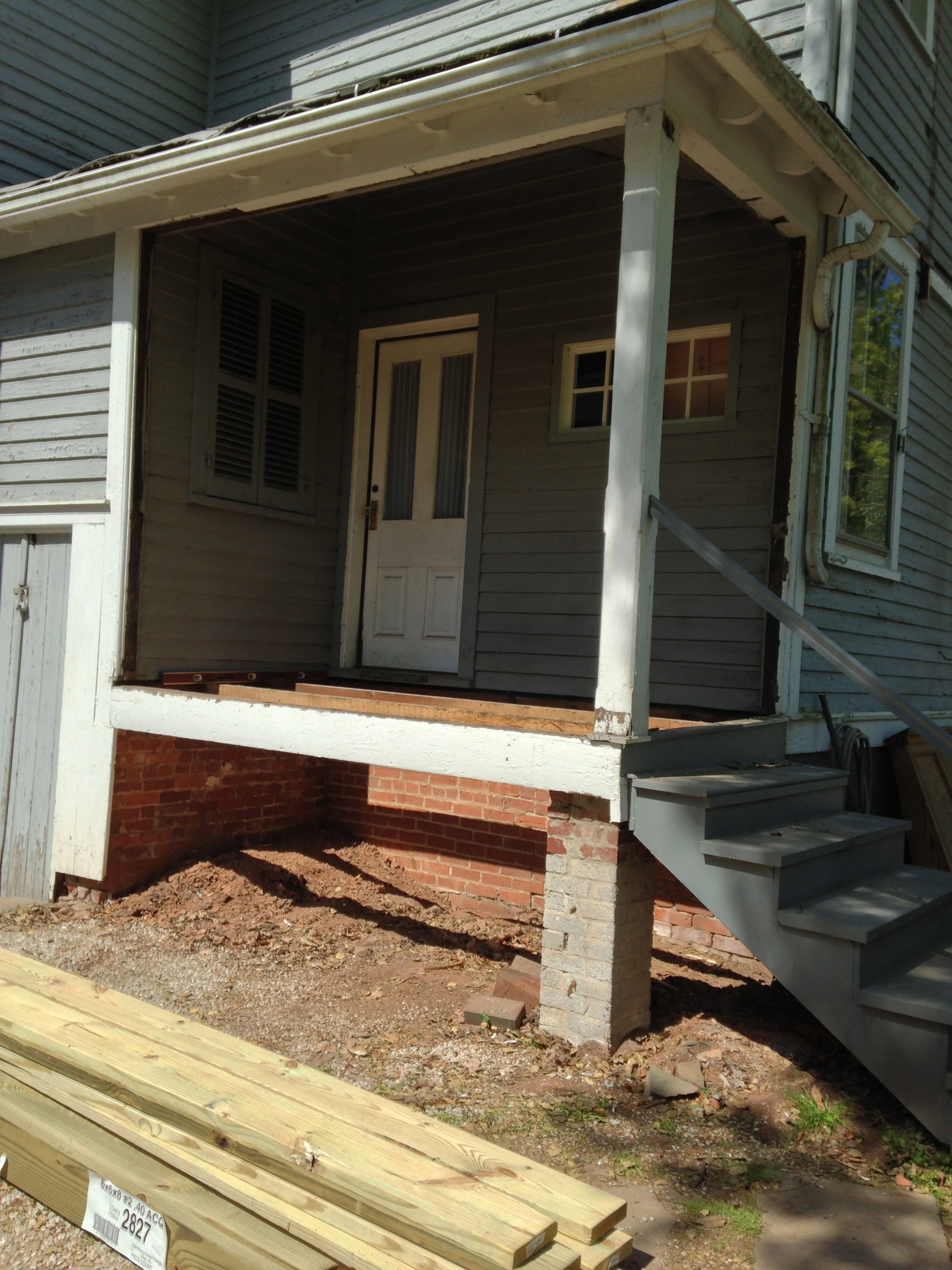 Side porch redo victorian post included victorian home for Side porch