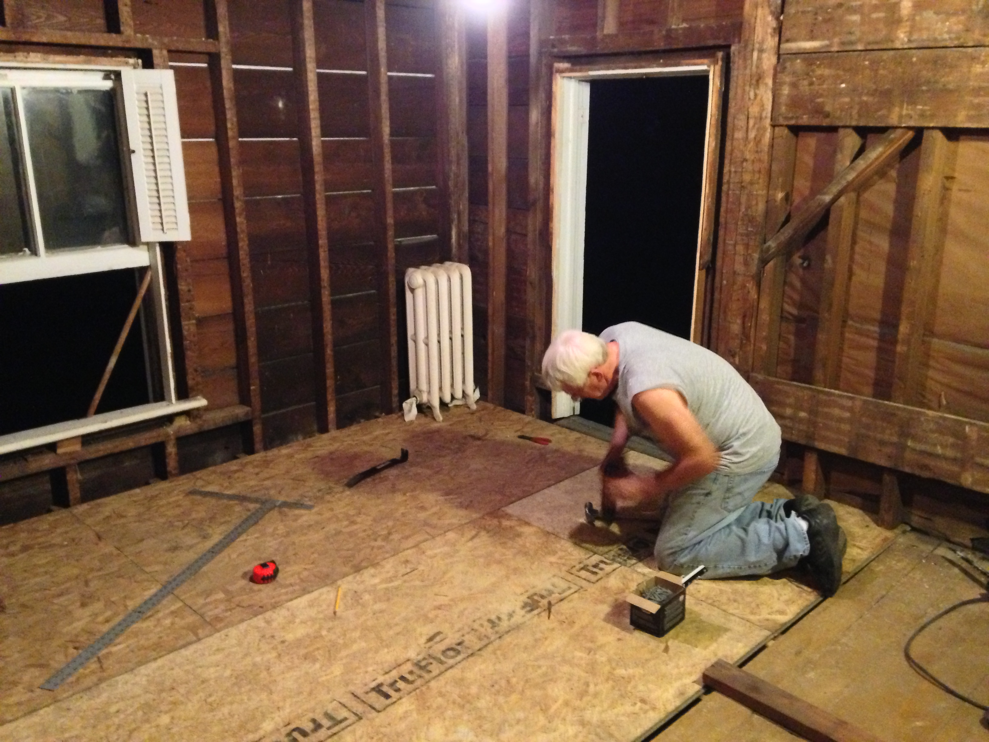 Redoing The Bathroom Floor And Finishing The Back Wall